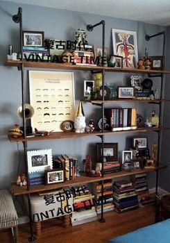 Estilo americano retro personalidad creativa de edad industrial pared bastidores de tubo estante librero tamaño de la partición se puede personalizar