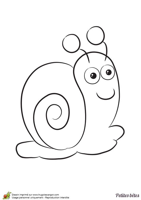 Coloriage facile des petites bêtes, un escargot - Hugolescargot.com