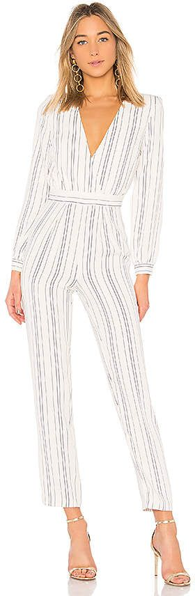 Striped deep V jumpsuit, perfect for date night