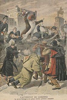L'attentat de Lisbonne.jpg - atentado contra o Rei D. Carlos e filhos, tendo morrido o rei e seu filho D. Filipe