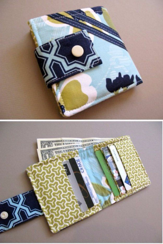 Cool Crafts  You Can Make With Fabric Scraps - Bifold Wallet  - Creative DIY…