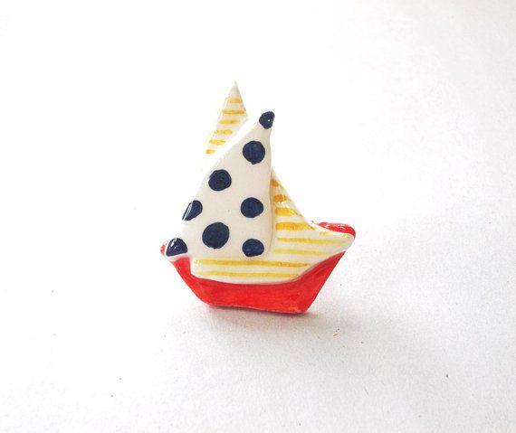Dot ceramic sailing boat ring by IoannasVeryCHic on Etsy, $14.00