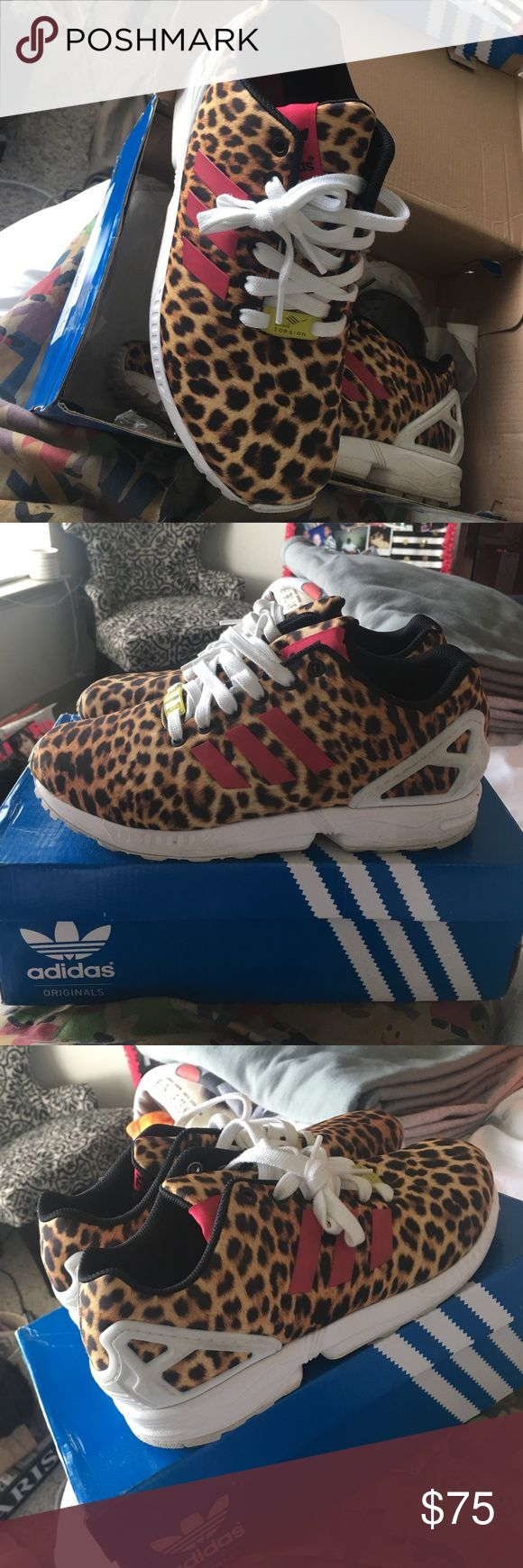 Adidas ZX FLUX Leopard, Adidas W8, original box & extra laces. Will be wiped down before shipped adidas Shoes Athletic Shoes