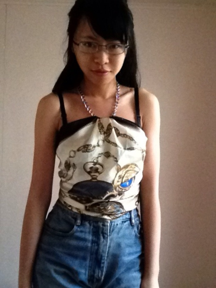 Day One: Necklace Halter Top. #silk #project100 #scarf #diy #top #necklace #fashion