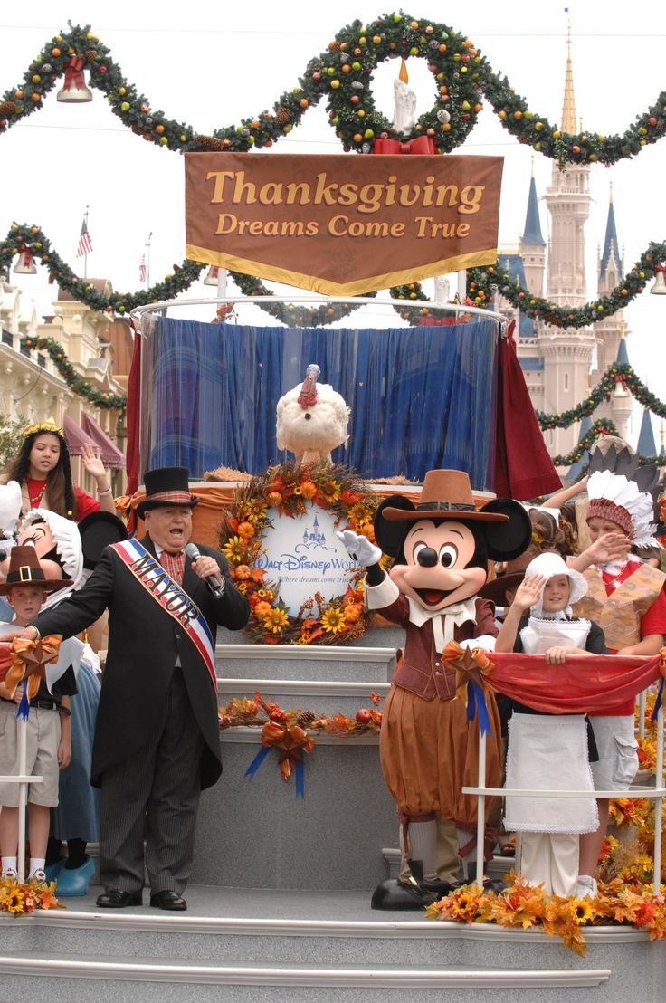 """Disney's Thanksgiving parade...See Mickey, Minnie and the gang dressed in Pilgrim finery, and wave to the guest of honor — the turkey!"" Click through for a link to the Disney restaurants serving a special Thanksgiving menu."