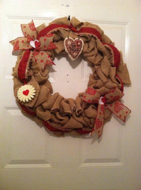 Valentine's Day Wreath Burlap Wreath by ElsiesCreativeDesign