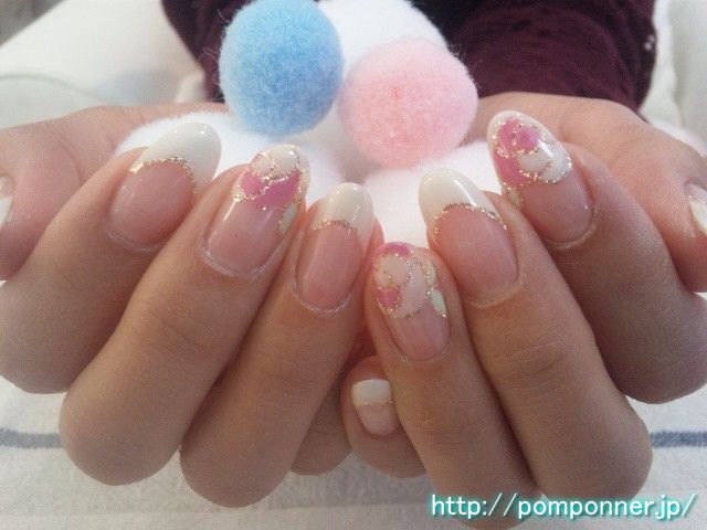 Spring Nail | Nail Art of French white and rose  白フレンチネイルとバラのアート|春ネイル