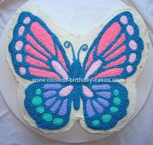 Homemade Beautiful Butterfly Birthday Cake: I am so happy with how this butterfly birthday cake turned out. I owe my success to another Coolest Cakes butterfly photo (the orange and black monarch).