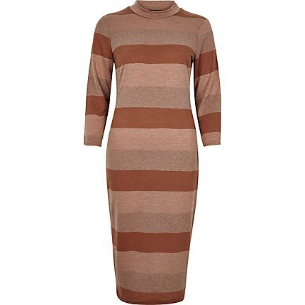 Brown stripe turtleneck bodycon dress €18.00