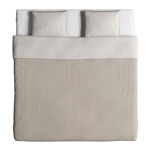 IKEA BLÅVINDA Dekbedovertrek met 2 slopen Beige 240x220/50x60 cm Chambray wordt geweven van witte en gekleurde draden, wat de stof een levendig oppervlak...