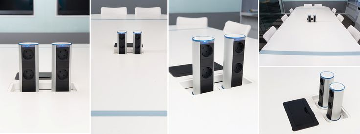 The Gemini is a dual sided pop-up unit that is stowed beneath the work surface when not in use and popped up using the gas strut when needed. Perfect for boardroom where both sides of the table need access to simple and sleek power points that can be hidden when not used.