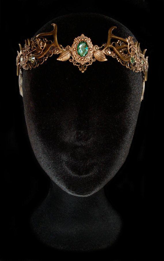 Couronne Bois de Cerf Tiare Nymphe Faune Bronze Vert Péridot Déesse Forêt Dame Nature Pagan Wicca Reine Baratheon