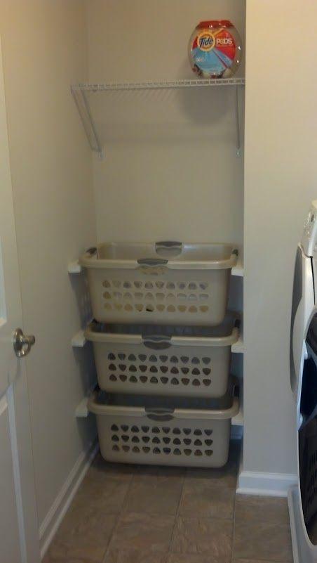Laundry organization. Baskets on wall