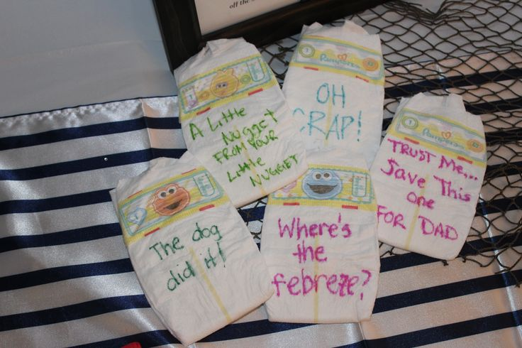 """Cute for baby shower...have guests write """"midnight messages"""" on back of diaper for those late night diaper changes :)"""