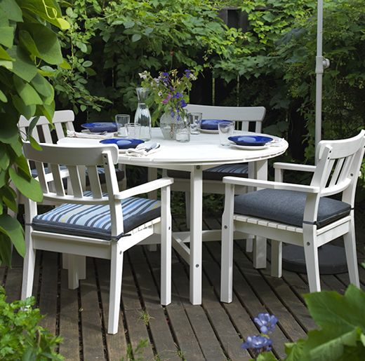 IKEA solid pine ANGSO outdoor dining table and chair Ikea - $589