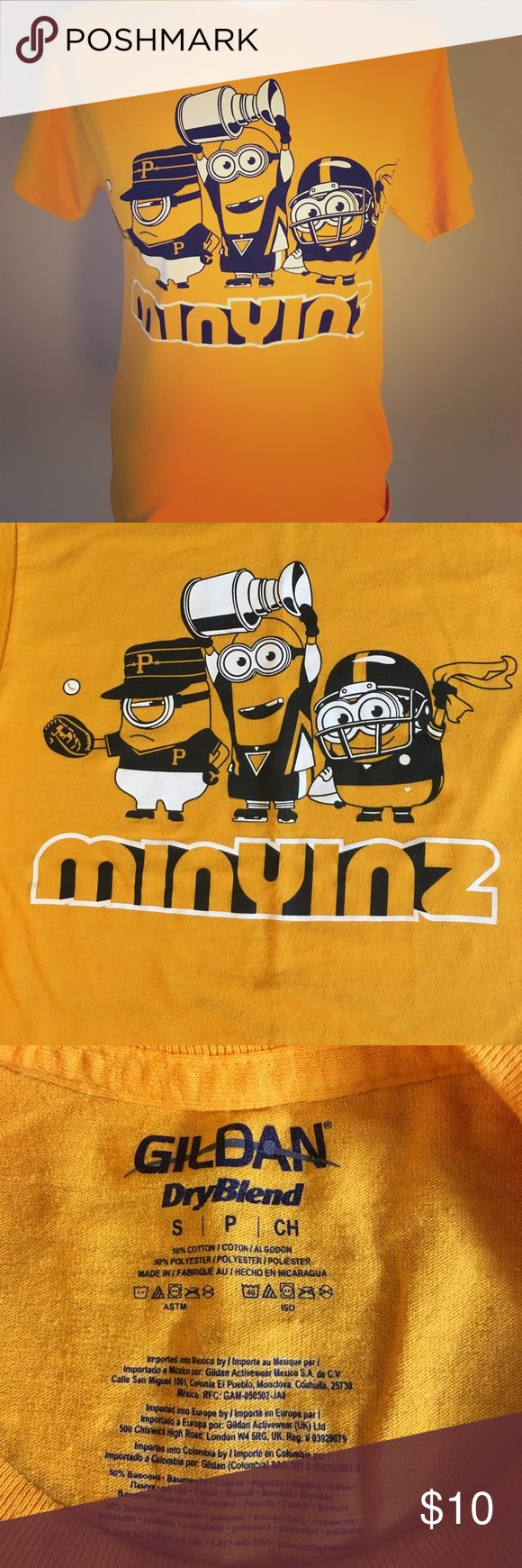 """Min""""Yinz"""" Pittsburgh inspired tee 🖤💛⚾️🏒🏈 Such a fun T-shirt for the Pittsburgh fan! Features minions dressed as a pirate, penguin and steeler. Would fit kids sized 14-16 or small ladies. Gender neutral shirt 🖤💛 Tops Tees - Short Sleeve"""