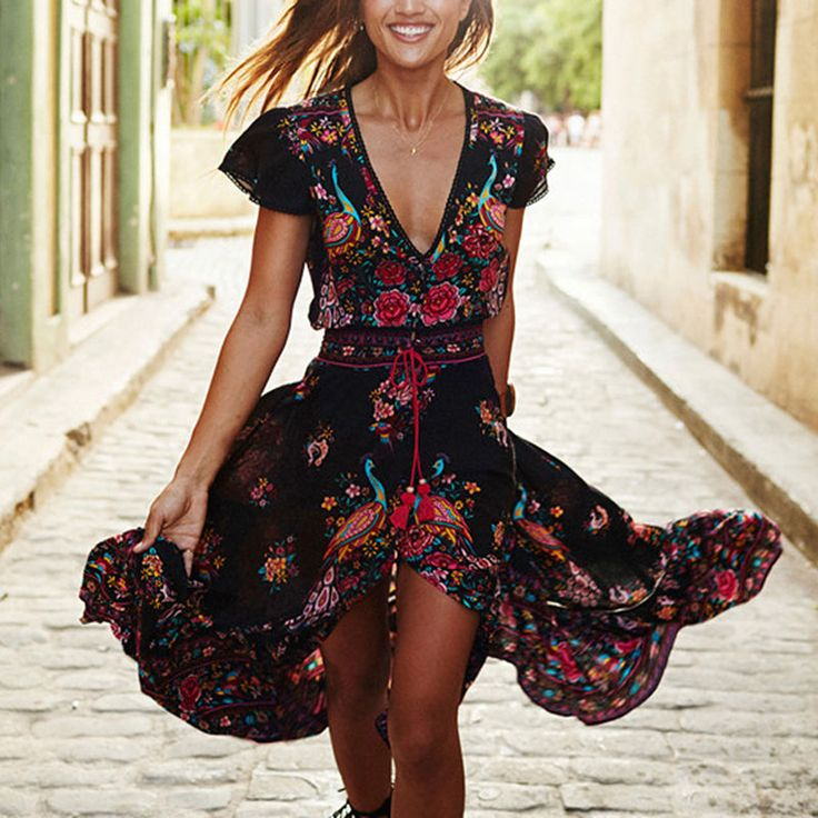 Retro Bohemian Dress Long Floral Dress Sexy Retrospective Fringed Boho Dress #Unbranded #Bohemian #Casual