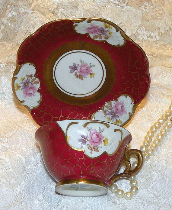 Demitasse Cup Saucer Set Bavaria Pink Roses by RosePetalResources, $30.00