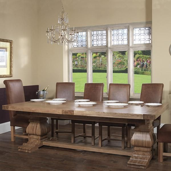 Oak Trestle Extending Farmhouse Table