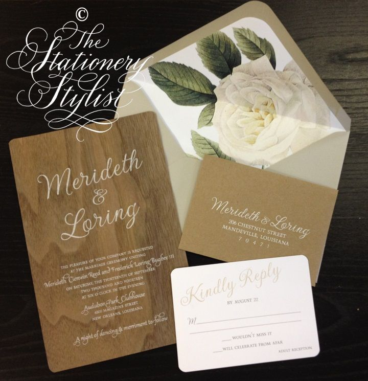 wedding invitations divas%0A Real Wood wedding invitations by Stationery Stylist of New Orleans for  Meredith Bugbee of Belle Soiree