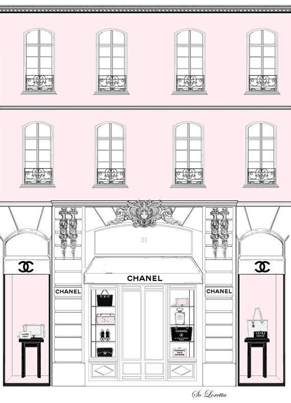 Chanel fashion print, fashion illustration, chanel quote print, pink girl wall…