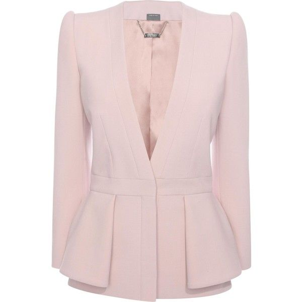 Alexander McQueen Folded Peplum Jacket (€1.990) ❤ liked on Polyvore featuring outerwear, jackets, patchouli, pink jacket, alexander mcqueen, peplum jacket and alexander mcqueen jacket