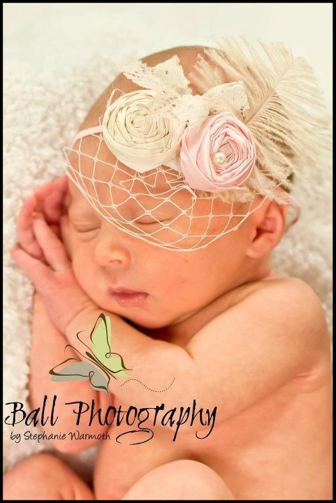 Lace bow, fabric rosettes, feathers, pearls, bird cage netting headband...... vintage inspired...... great for newborn photos, photography  https://www.facebook.com/pages/Sweet-Bebe-Couture/138300469584601