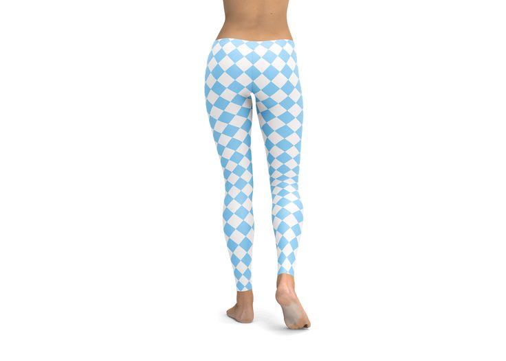Argyle Blue and White Leggings, Yoga Pants, tights, workout gear, cute leggings