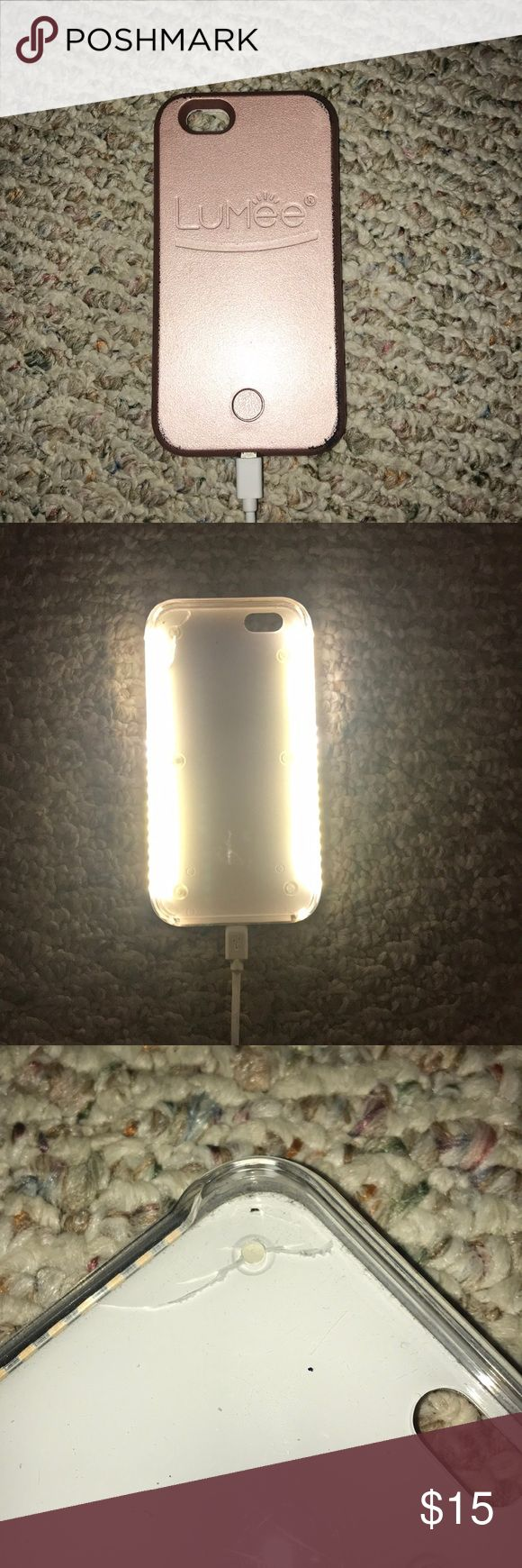 LuMee light up phone case Perfect for selfies when it's dark or for going out! Gives amazing lighting.   Has one slight crack on the inside on the top left side. It's not visible when the case is on, and does not affect the light at all.   *comes with the charger. This stays charged forever! I've had this for about 6 months now and have charged it only when I first got it, and it's still super powerful lighting.   Lighting is adjustable - can go dimmer or brighter by holding the button! :)…