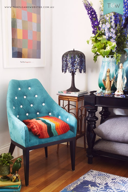 Tamara Turnbull's Sydney home, on the Temple & Webster blog.  #teal #chair #leadlight lamp