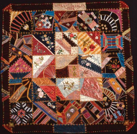 Velvet crazy quilt: embroidery