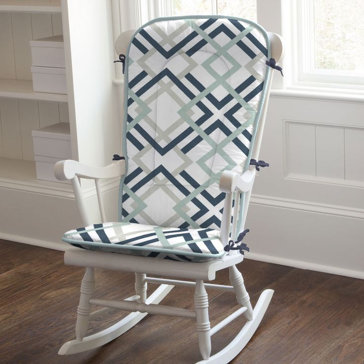 rocking chair pad in navy and gray geometric by carousel designs slip