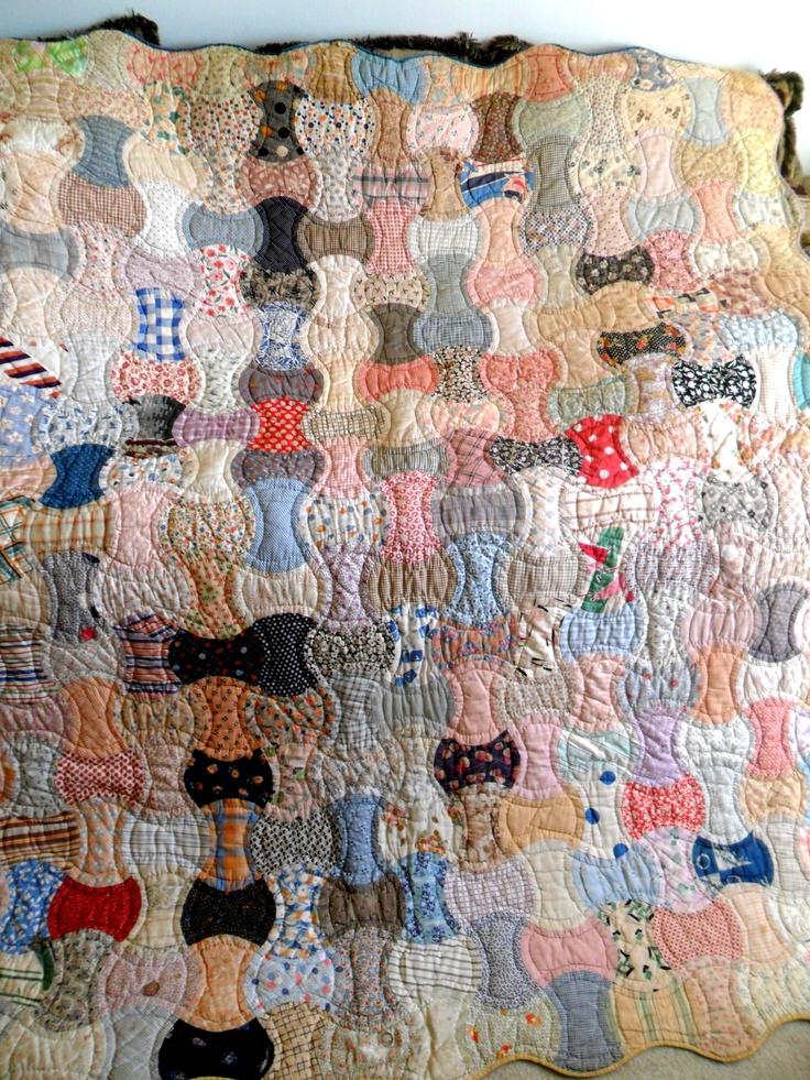 Vintage Antique Handmade Quilt Apple Core Charm Quilt 30s