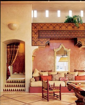 COLORS. Look at the COLORS. Moroccan living room accents. Love the mini garden on top.