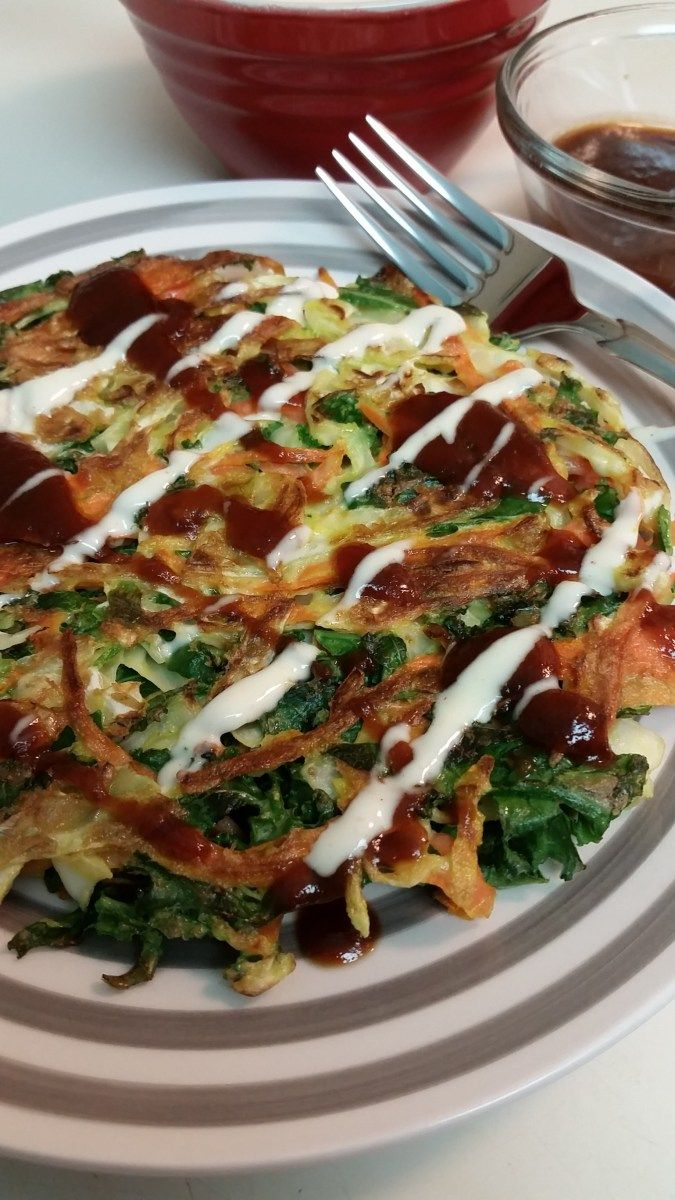 Gluten free Okonomiyaki (Japanese Pancakes). Simple. Easy. Healthy. This has quickly become a family favorite and the homemade Japanese mayo is soooo good. #glutenfree #soyfree #dairyfree option.