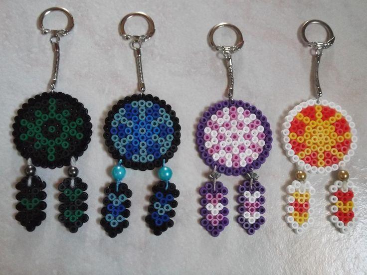 Porte clé attrapeur de rêves capteur de rêves bleu perles hama