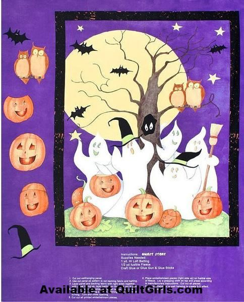 Quilt panel shows an image of Ghosts and Jack o Lanterns. This is aprox 1 yard Quilt Panel. Fabric by Steele Creek Studios. Cotton for quilting. By the panel.