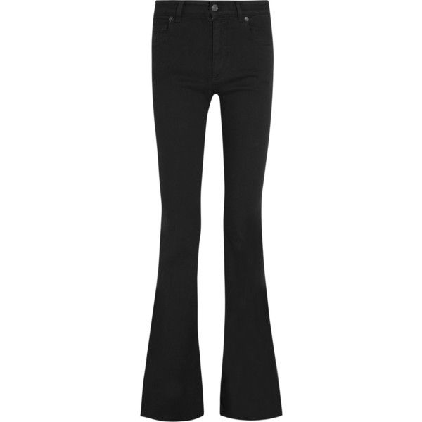 Tom Ford High-rise flared jeans (£690) ❤ liked on Polyvore featuring jeans, pants, flared jeans, tom ford, black, black slim jeans, black jeans, slim jeans, highwaisted jeans and black high rise jeans