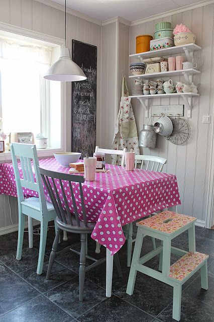 Rustic cottage dining table and chair with great mix of pink polkadot and mint green!