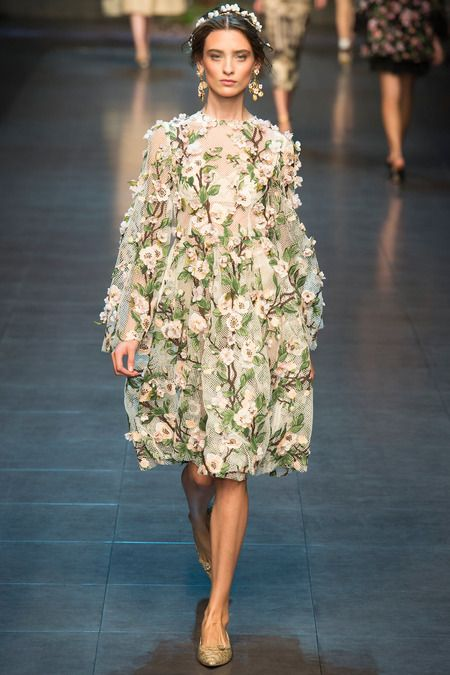 Dolce and Gabbana SS14, floral trend inspired by Sicilian culture and the island's interaction with Ancient Greece.