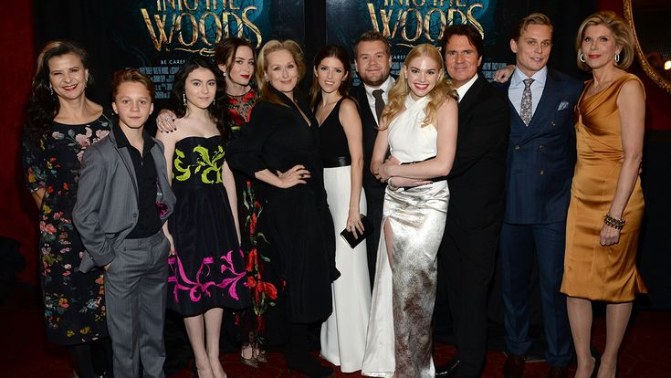 Tracey Ullman, Daniel Huttlestone, Lilla Crawford, Emily Blunt, Meryl Streep, Anna Kendrick, James Corden, MacKenzie Mauzy, director Rob Marshall, Billy Magnussen and Christine Baranski. (Photo by Kevin Mazur/Getty Images for Walt Disney Studios Motion Pictures)(Article: Meryl Streep, Anna Kendrick Share the Many 'Into the Woods' Morals for Adult Moviegoers - The Hollywood Reporter)