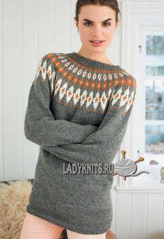 De tricotat pulover elegant, cu jug rotund decorat cu modele scandinave
