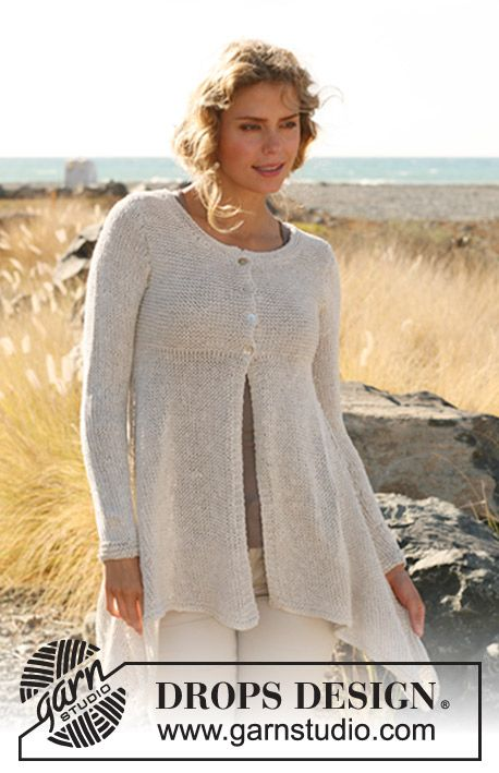 """DROPS 129-21 - Knitted DROPS jacket, worked top down with extra width in """"Bomull-Lin"""". Size: S - XXXL. - Free pattern by DROPS Design"""