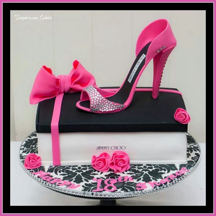 Pink & black Jimmy Choo shoe cake