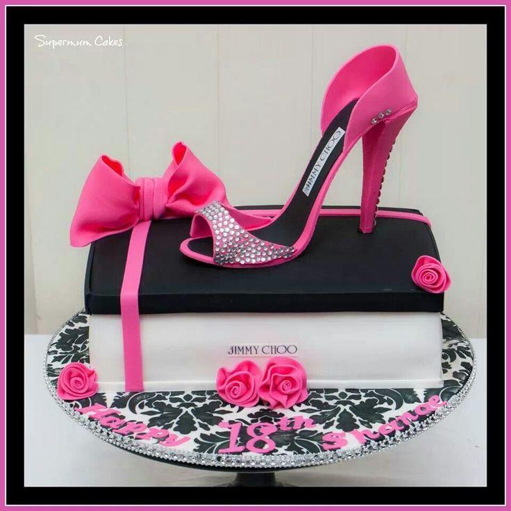 Pink & black Jimmy Choo shoe cake