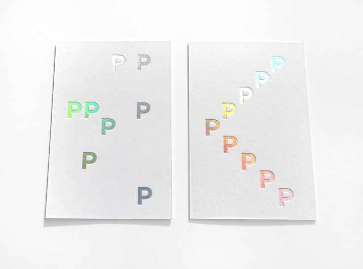 Holographic foil debossed business cards by Pam et Jenny for Place Publique.