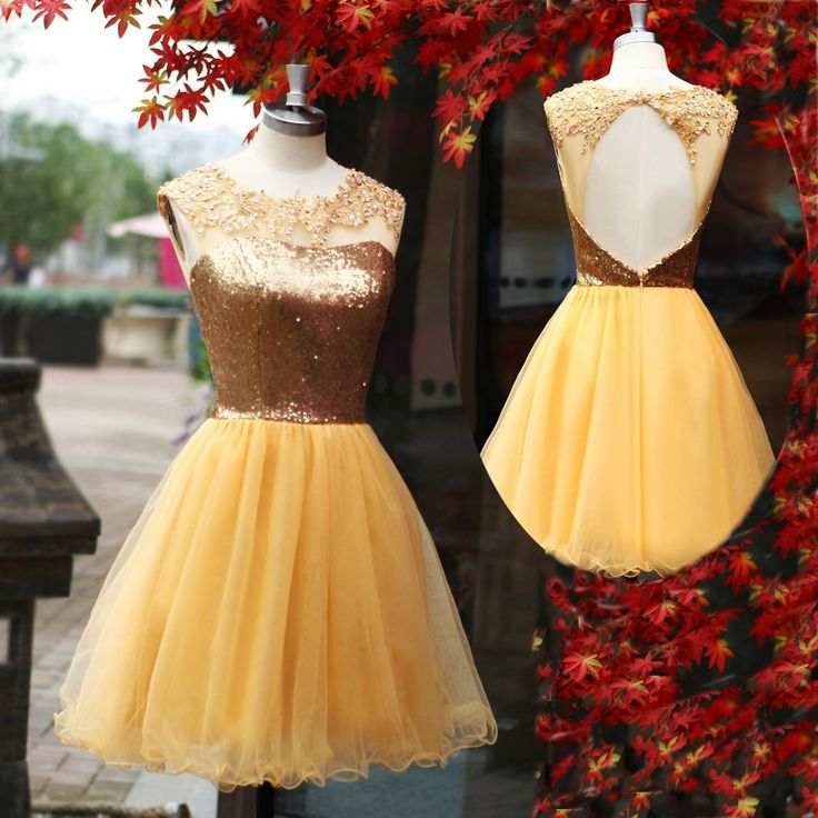 Luxurious A-Line Short/Mini Tulle Scoop Backless Gold Homecopming/Prom Dress With Appliques