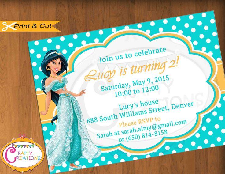 9 best Girl Birthday Invitations images – Princess Jasmine Birthday Invitations
