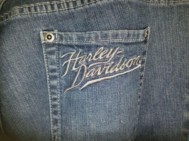 Harley Davidson Motorcycles Women's Capri Jeans Size 10 Denim Apparel Crop Pants #HarleyDavidson #CapriCropped