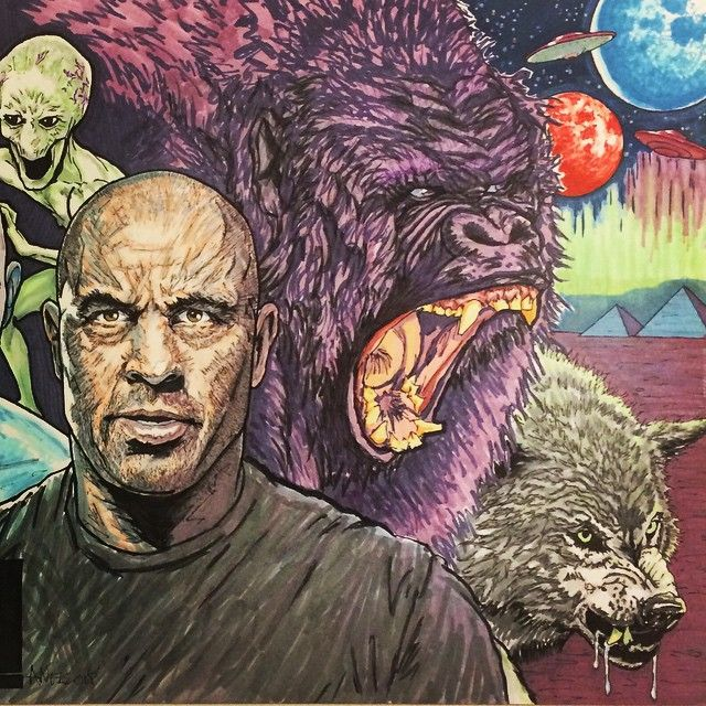 Joe Rogan w/ wolf, gorilla & alien : if you love #MMA, you'll love the #UFC & #MixedMartialArts inspired fashion at CageCult: http://cagecult.com/mma
